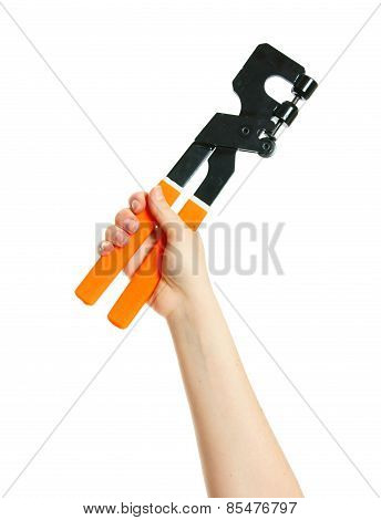 Pliers in hand on white background.