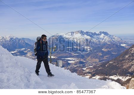 Hiker In The Bavarian Alps On Jenner Mountain