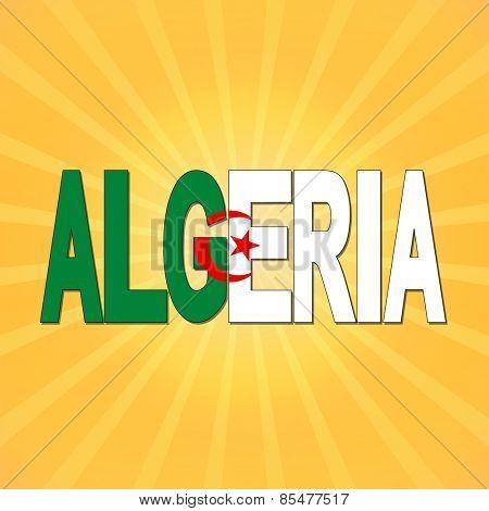 Algeria flag text with sunburst illustration