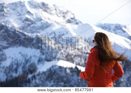 Women Looks At The Mountains