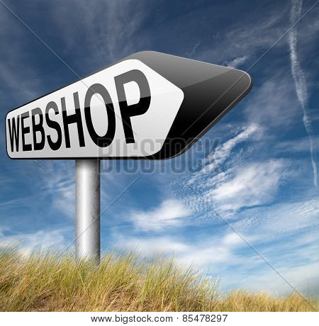 webshop online shopping at internet web shop buy and sell onine road sign arrow