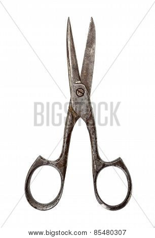 Old Scissors Isolated On White