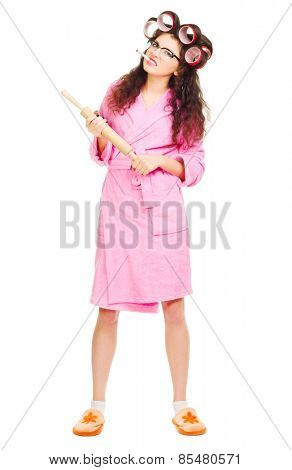 Housewife with rolling pin isolated