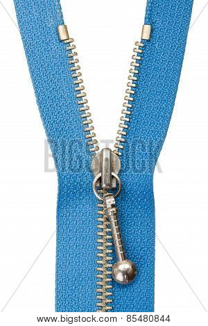 Half Open Blue Zipper