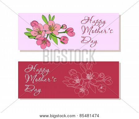 Set of  banners with flowers for Mothers Day