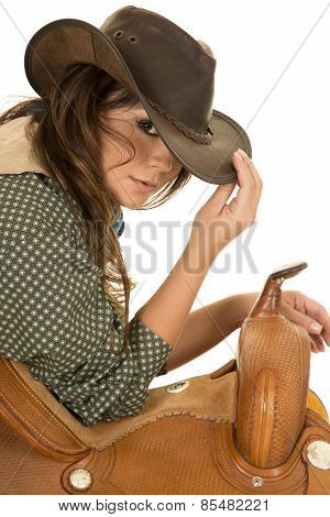 Cowgirl Lean On Saddle Touch Hat Look With One Eye