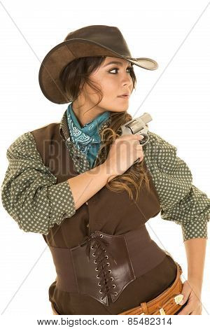 Cowgirl With Gun And Holster Look Side