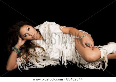 Native American Woman In White Outfit Lay On Black Hand On Leg