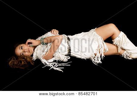 Native American Woman In White Outfit Lay On Black
