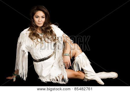 Native American Woman In White Outfit Sit On Black Smile