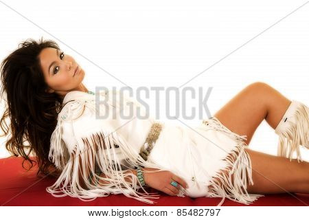 Native American Woman Lay Back On Red Sheet Looking