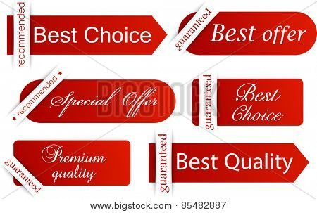 Set of red banners. Vector illustration.