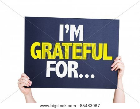 I'm Grateful For... card isolated on white