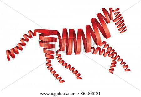 Abstract isolated red horse made from ribbons Vector illustration