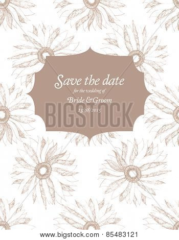 Save The Date Wedding invitation Card with flower Vector illustration