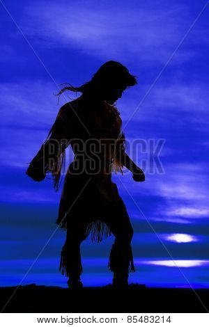 Silhouette Of Native American Woman Arms Out