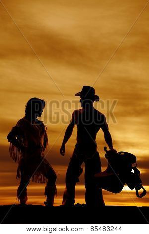 Silhouette Of Native American Woman Side Knee Up By Cowboy
