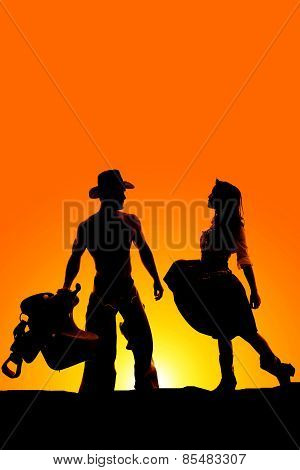 Silhouette Of Woman Holding Skirt Out Facing A Cowboy