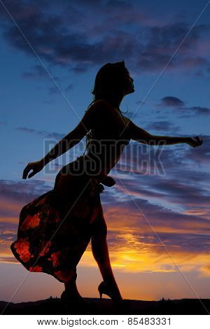 Silhouette Of Woman In Bikini And Sarong Side Reach Out
