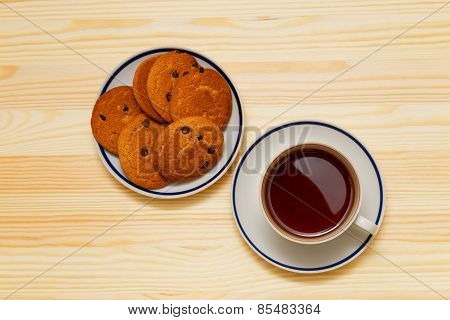 Cup Of Tea And Stack Of Cookies