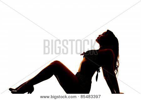 Silhouette Of Woman In Bikini Lean Back Knees Up