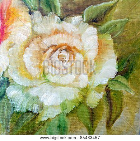 Vintage roses. Oil painting
