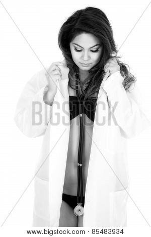 Woman Doctor In Bikini Open Jacket Hold Collar Look Down