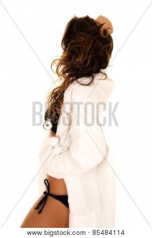Woman Doctor In Bikini Side Hand In Hair