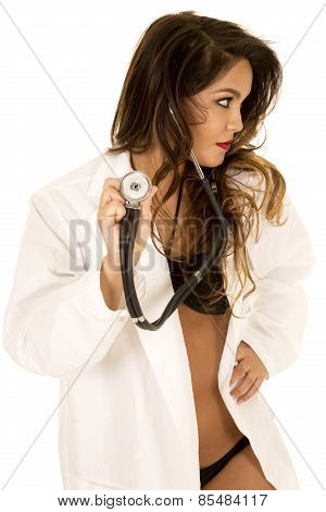 Woman Doctor In Bikini Open Jacket Stethoscope Out Look Side