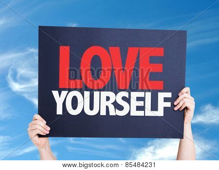 Love Yourself card with sky background