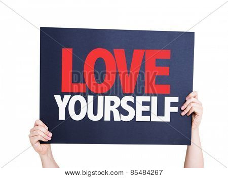 Love Yourself card isolated on white