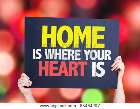 Home is Where Your Heart Is card with bokeh background