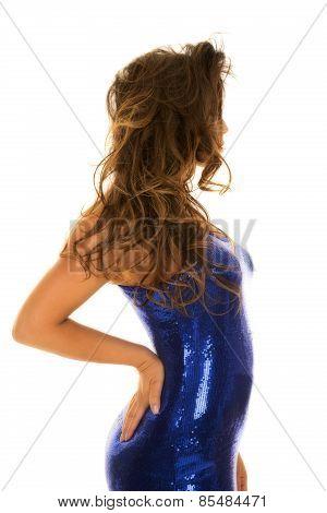 Woman In Blue Shiny Dress