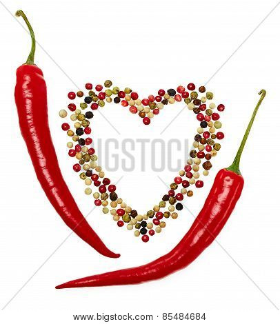 Red Hot Pepper In Pods And Colorful Mixture Of Peppercorns. Concept Of Love.