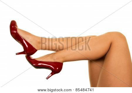 Woman Legs With Red Heels Kicked Out