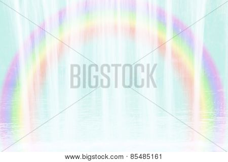 Background With Flowing Water And Rainbow