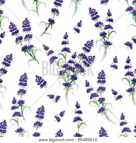 Watercolor violet lavender seamless vector print