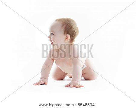 sweet little boy in studio white background