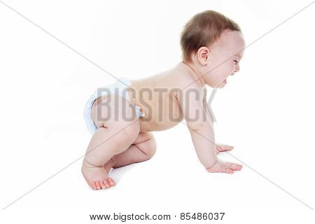 A sweet little boy in studio white background