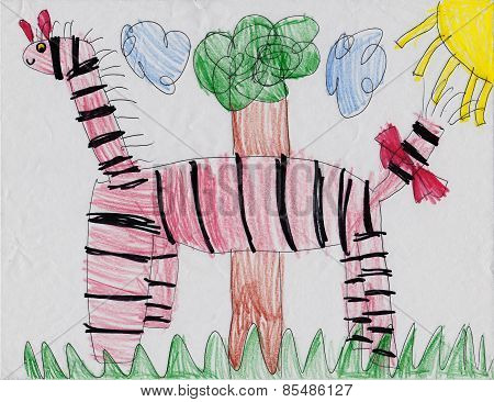 Crayon Drawing of Cute Zebra in Nature