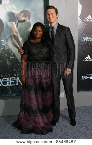 NEW YORK-MAR 16: Actors Octavia Spencer (L) and Ansel Elgort attend the U.S. premiere of