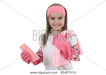 little girl dishes over a white background