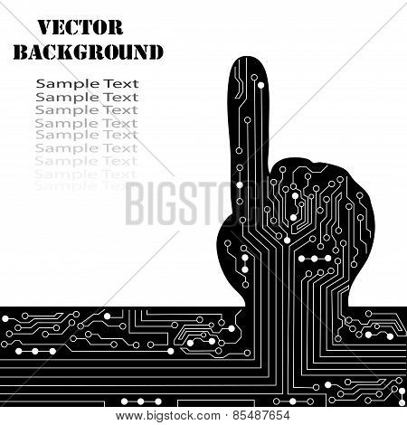 Concept Of Choice, Decision. Circuit Abstract Hand Vector Background.