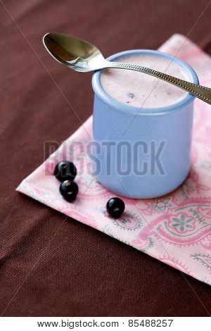 Homemade Yogurt With Berries In A Ceramic Bowl