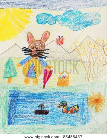 Easter Bunny Go For A Walk - Children Drawing
