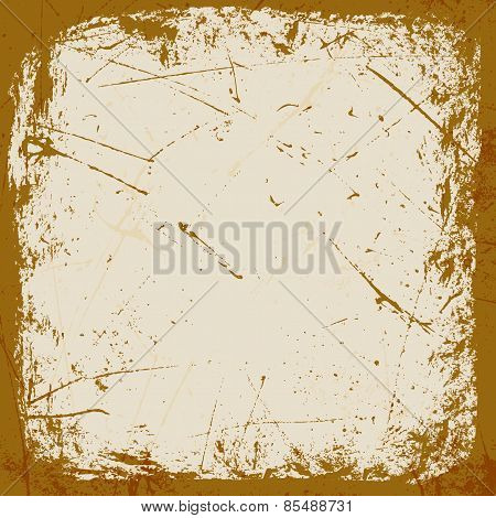 rough brown grungy frame for design. vector illustration