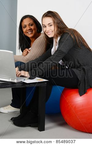 Businesswomen working on a project while in an office