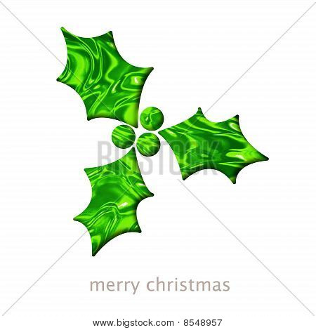 Christmas Card With A Holly Shape Illustration