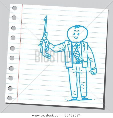 Businessman holding harpoon