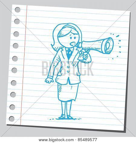 Businesswoman speaking into megaphone